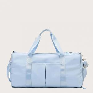 Wide Space Traveller Nylon Canvas Zipper Travel Bags - Blue
