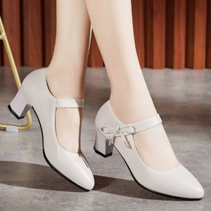 Buckle Closure Synthetic Leather Square Heel Sandals - White