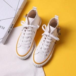 Ribbed Sole Style Plastic Lace Closure Women Sports Wear Sneakers - Beige