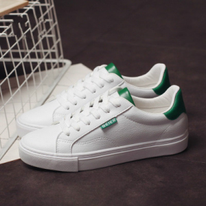 Lace Closure Flat Wear Synthetic Leather Sneakers - Green