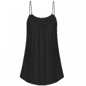 Spaghetti Strap Solid Color Summer Blouse Top - Black