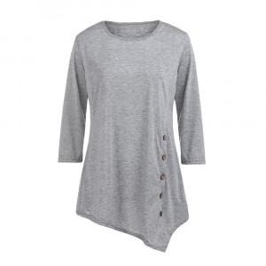 Irregular Round Neck Mesh Pattern Quarter Sleeve Top - Gray
