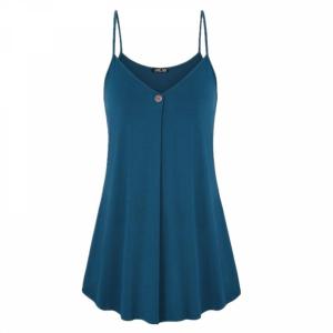 Pleated Spaghetti Strap Summer Fashion Blouse Top - Peacock Blue
