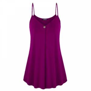 Pleated Spaghetti Strap Summer Fashion Blouse Top - Dark Purple