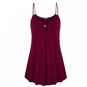 Pleated Spaghetti Strap Summer Fashion Blouse Top - Wine Red
