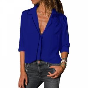 Vintage Style Solid Color Summer Blouse Top - Blue
