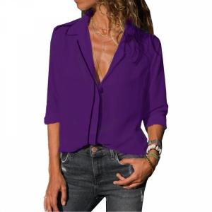 Vintage Style Solid Color Summer Blouse Top - Purple