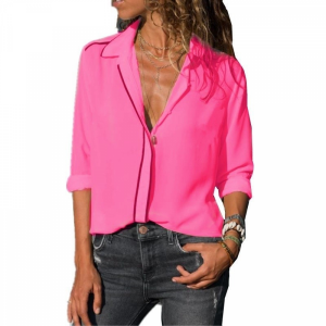 Vintage Style Solid Color Summer Blouse Top - Pink