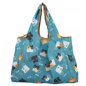 Cat Printed Women Fashion Large Space Shoulder Bags - Blue