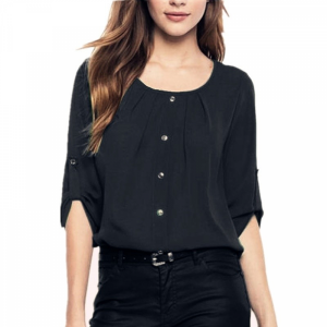 Round Neck Solid Color Summer Blouse Top - Black