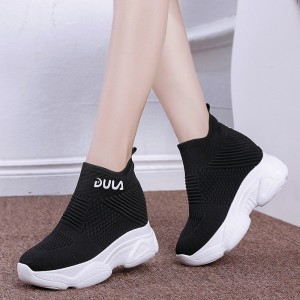 Slip Over Breathable Long Style Thick Sole Sneakers - Black