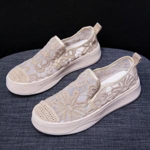 Hollow See Through Breathable Flat Wear Shoes Khaki