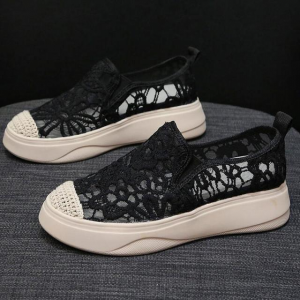 Hollow See Through Breathable Flat Wear Shoes - Black