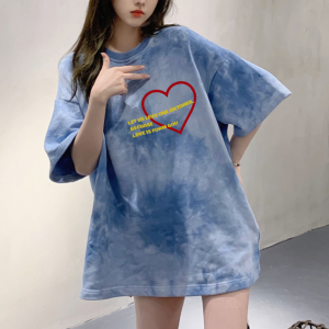 Loose Cloud Printed Round Neck Summer Top - Blue