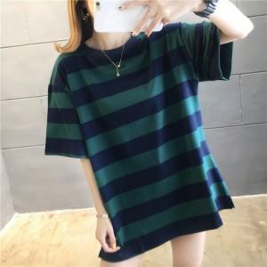 Striped Pattern Print Loose Wear Summer T-Shirt - Green