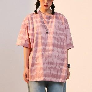 Mesh Pattern Printed Loose Wear Summer T-Shirt - Pink