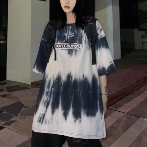 Cloudy Pattern Printed Loose Wear Summer T-Shirt - White Black