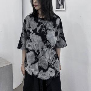 Cloudy Pattern Printed Loose Wear Summer T-Shirt - Gray