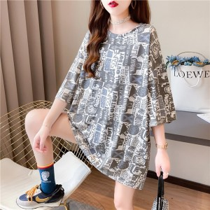 Round Neck Printed Loose Wear Summer T-Shirt - Gray