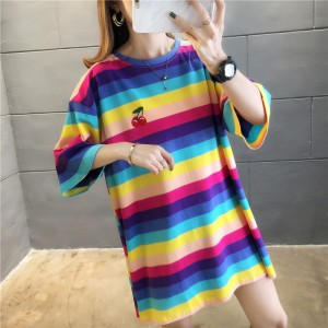 Round Neck Stripes Print Loose Wear Summer T-Shirt - Multicolor