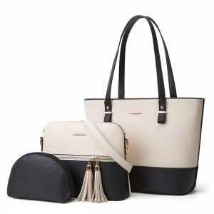 Synthetic Leather Contrast Women Fashion Shoulder Bags - Black
