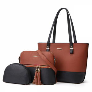 Synthetic Leather Contrast Women Fashion Shoulder Bags - Brown