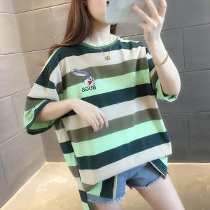 Round Neck Stripes Print Loose Wear Summer T-Shirt - Green