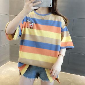 Round Neck Stripes Print Loose Wear Summer T-Shirt - Orange
