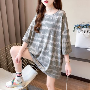 Round Neck Print Loose Wear Summer T-Shirt - Gray
