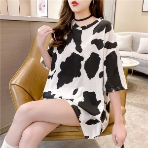 Round Neck Print Loose Wear Summer T-Shirt - Black and White