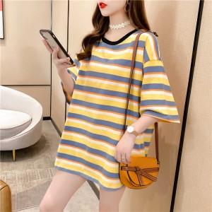 Round Neck Print Loose Wear Summer T-Shirt - Light Ochre Yellow