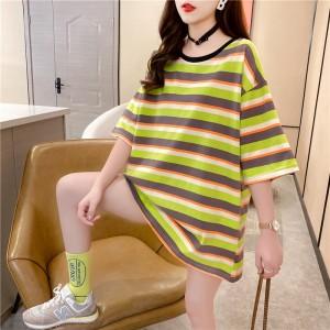 Round Neck Print Loose Wear Summer T-Shirt - Green