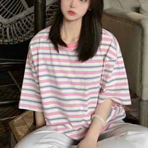 Round Neck Print Loose Wear Summer T-Shirt - Pink