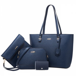 Synthetic Leather Large Space Solid Color Handbags Set - Blue