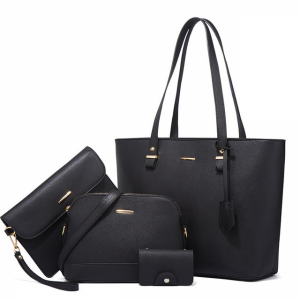 Synthetic Leather Large Space Solid Color Handbags Set - Black