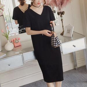 V Neck Solid Color Short Sleeves Midi Dress - Black