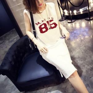 Round Neck Numeric Print Sleeveless Dress - White