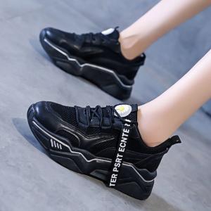 Lace Closure Soft Sole Sports Wear Sneakers - Black