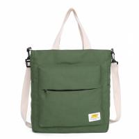 Zipper Closure Canvas Contrast Solid Color Shoulder Bags - Green