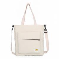 Zipper Closure Canvas Contrast Solid Color Shoulder Bags - White