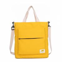 Zipper Closure Canvas Contrast Solid Color Shoulder Bags - Yellow