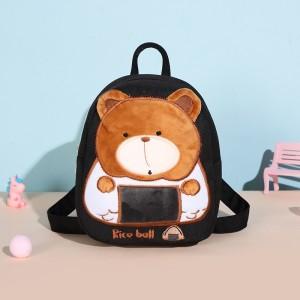 Bear Thread Art Canvas Mini Backpack - Coffee