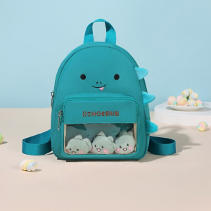 Cute Carved Cartoon Style Canvas Backpack - Blue