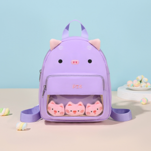 Cute Carved Cartoon Style Canvas Backpack - Purple