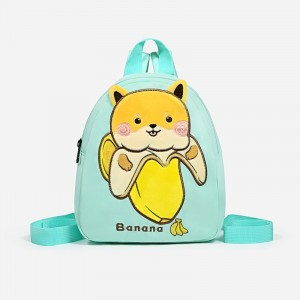 Cute Carved Cartoon Style Canvas Backpack - Green