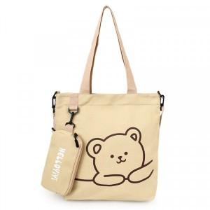 Canvas Bear Printed Zipper Closure Shoulder Bags - Khaki