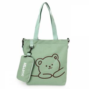 Canvas Bear Printed Zipper Closure Shoulder Bags - Green