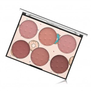 Six Color Plastic Face Blush Pallet - Dark Shades