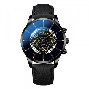 Leather Strap Sports Wear Buckle Closure Wrist Watch - Black