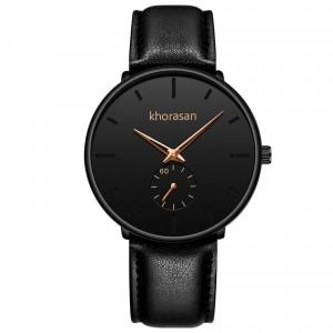 Leather Strap Analogue Wrist Watch - Black